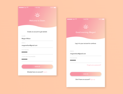 Dawn Sign Up Form — Daily UI