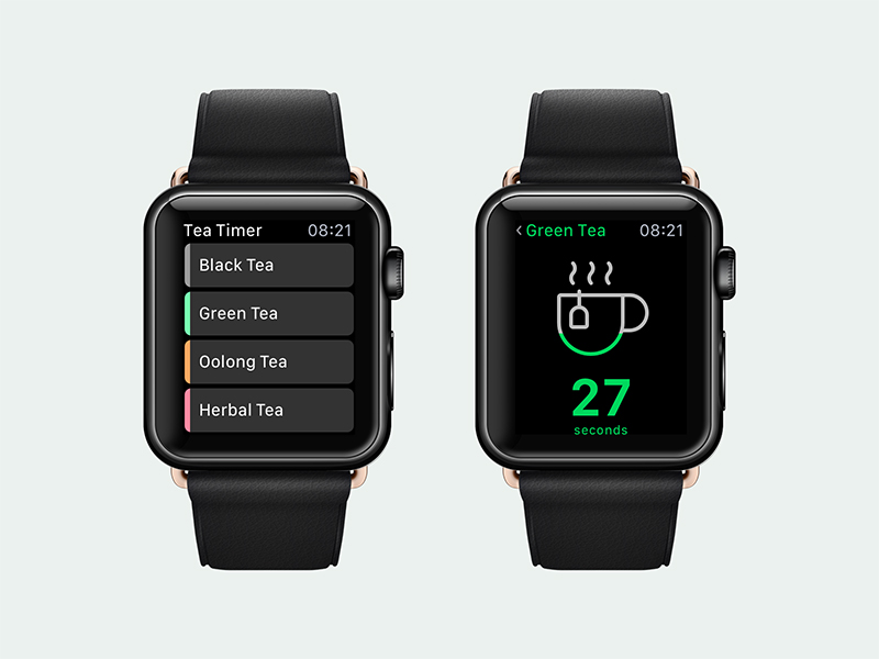 Daily UI#14 Tea CountDown Timer for Apple Watch food timer tea design mobile ui dailyui