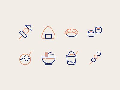 Daily UI #55 Icon Set (Japanese Food) takoyaki onigiri dango sushi ramen japanese food iconset icon ui dailyui