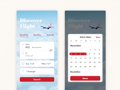 Daily UI #68 Flight Search datepicker travel flight search mobile ui dailyui