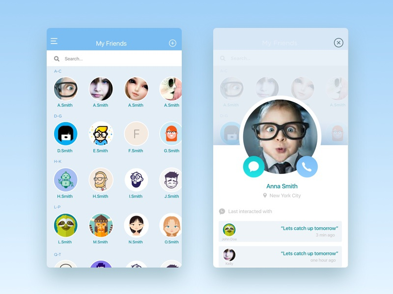 Contact List Designs On Dribbble
