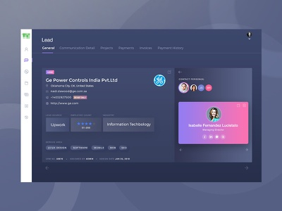 Lead detail screen analytic dashboad clean ui wireframe design uiux design colorful