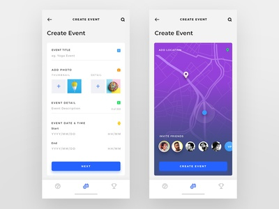 Create Event ui design fitness app uiux design clean ui iphone app colorful
