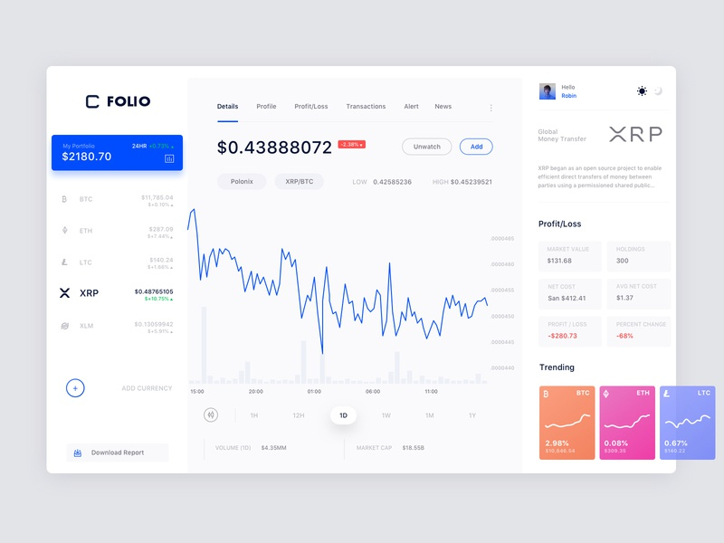 Crypto Tracker Daylight Version flat ui crypto exchange crypto wallet cryptocurrency app uiux design clean ui colorful