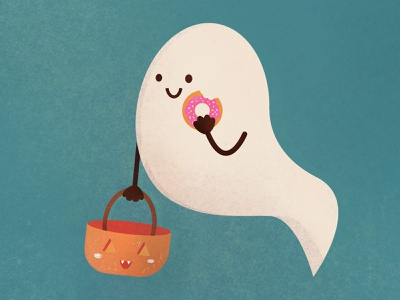 Trick or treat! ghost cute halloween design halloween autumn photoshop design character illustration flatdesign
