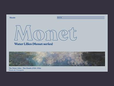 Monet - Water Lilies ui typogaphy blog website paint monet interaction ui animation gallery animacion