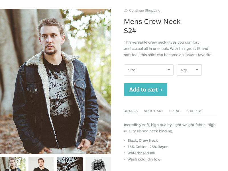Product Detail (Web) ui ux button cart size selection detail shirt commerce title price images description product