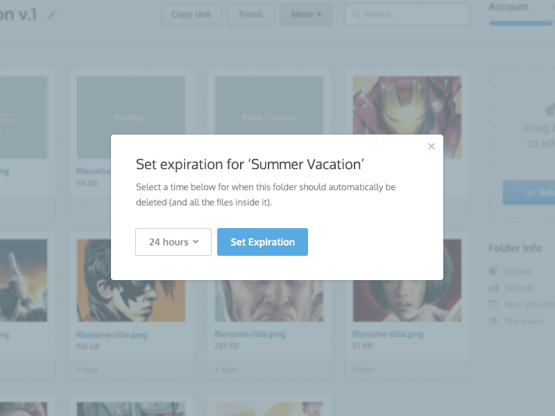 Expiration for.. ui ux modal product button blue date expire dropdown hours files grid