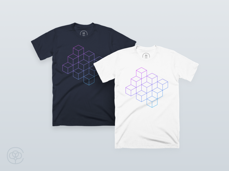 Iterate gradient cottonbureau blue and white blue abstract illustration line tshirt cube shirt apparel