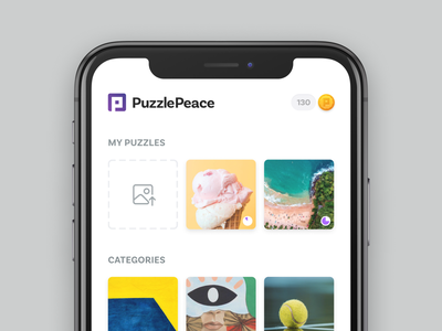 My Puzzles unsplash images progress upload puzzle game coin mobile ios icons interface button icon app design identity logo layout ux ui
