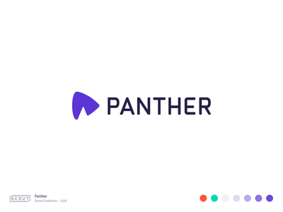 Logo identity logo branding design ear typogaphy vector app panther purple abstract mark custom type scout colors