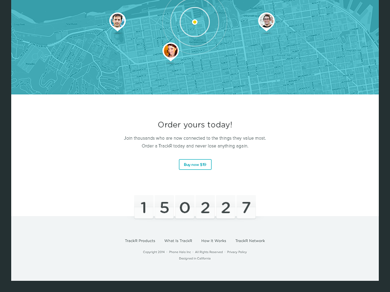 Order yours today! ux ui footer map numbers user avatar button order trackr layout location