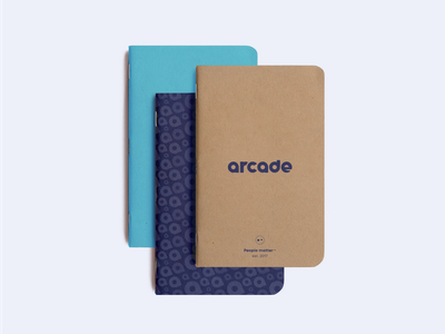 Notebook pattern typography logo arcade collateral swag design layoutdesign identity branding notes notebook print graphic layout