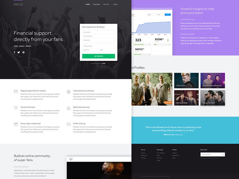 Artist Network ux ui layout web signup login icon artist footer