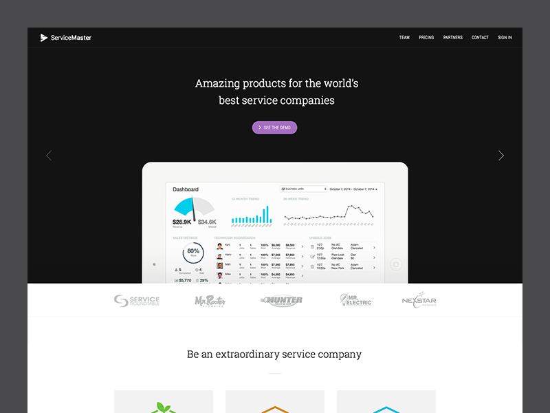 Homepage web layout header purple feedback interface slideshow navigation button adelle roboto