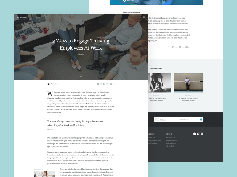 Article date drop-cap serif quote content layout article personal web blog ui ux