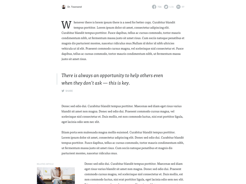 Article Detail date drop-cap serif quote content layout article personal web blog ui ux