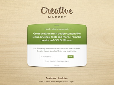 Creative Market ui signup launch teaser wood texture creative market social sharing beta free