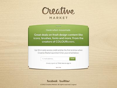 Creative Market ui signup launch teaser wood texture creative market social sharing beta free