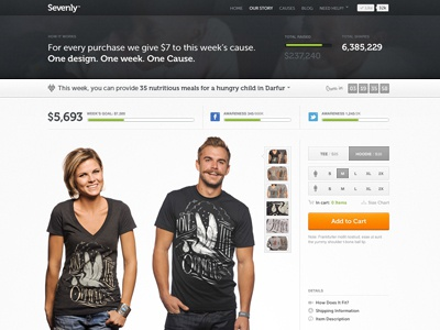 Sevenly Homepage sevenly ui tshirt shopping navigation layout black grey green us stats icons