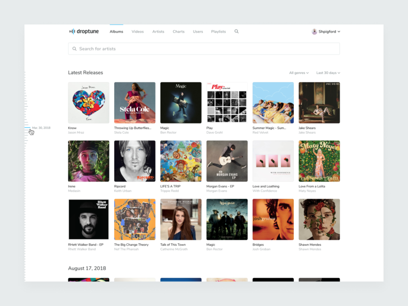 Droptune – Feed album player music design blue icons interface logo app identity layout ux ui