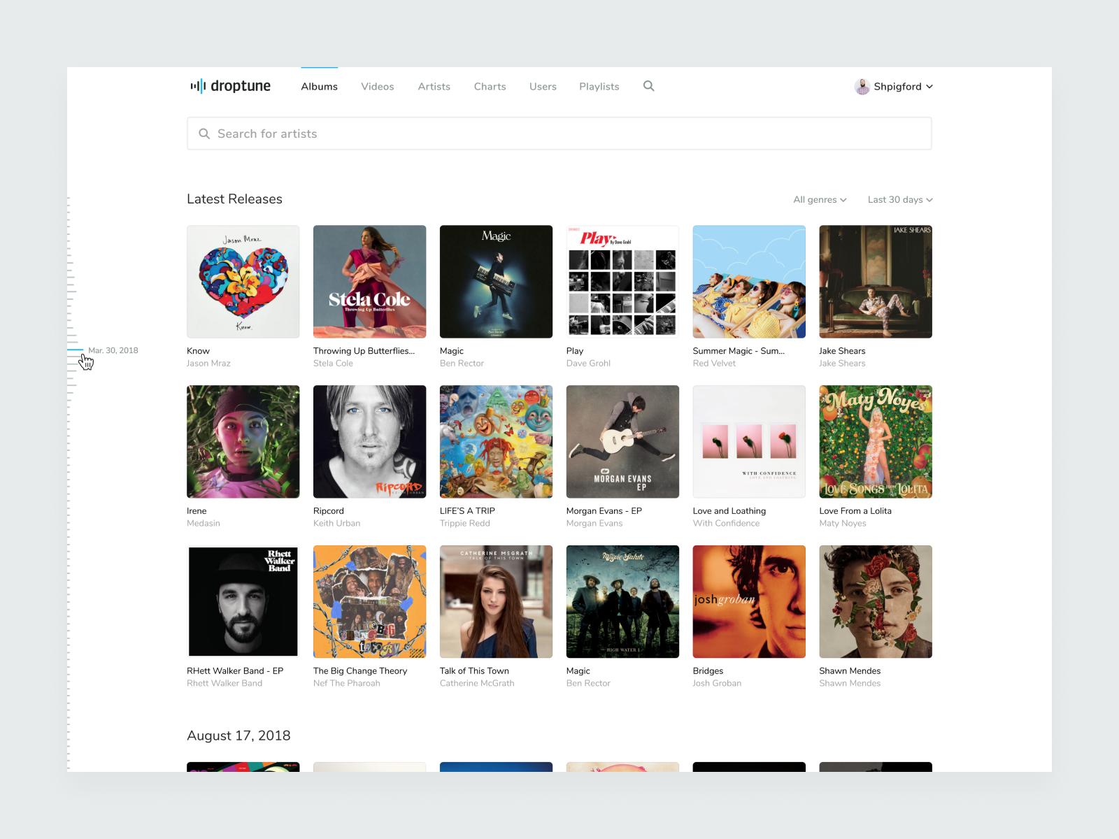 Droptune – Feed album player music design blue icons interface logo app identity layout ux ui