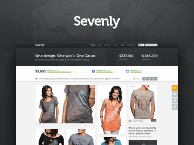 Sevenly Homepage ui ux layout ecommerce add cart selection size style price tshirt sevenly campaign button interaction