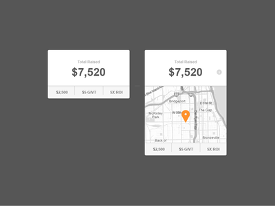 Total Raised ui ux layout experience interface map location money info tooltip