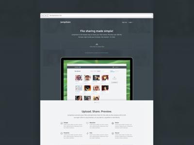 Jumpshare us ui brand identity website layout signup login preview icons upload drag slider