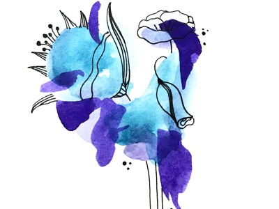 Watercolor abstract flowers abstract black line line animation web typography branding ui logo design illustration blue color flowers art bouquet watercolor abstract flowers
