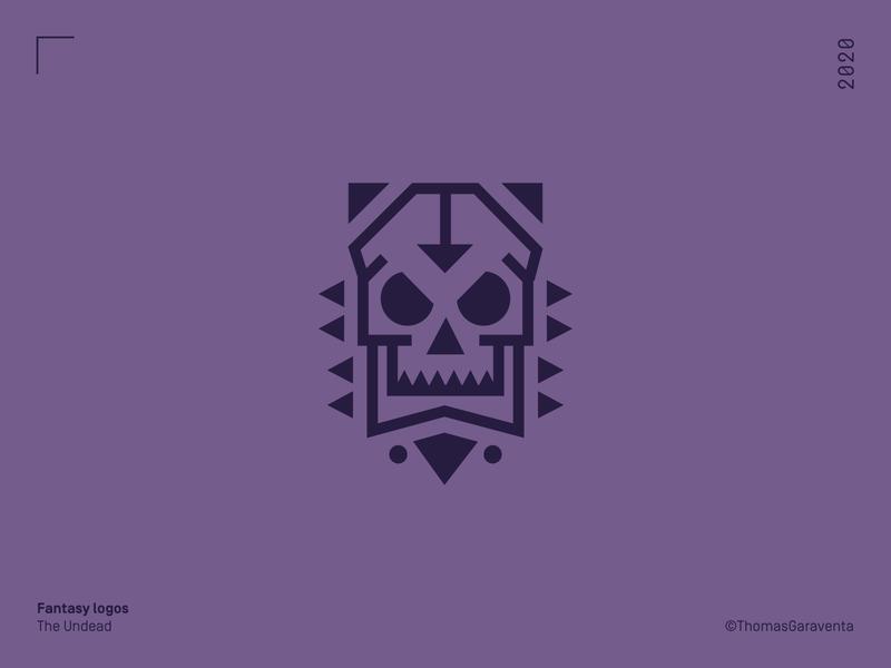 Fantasy Logos - The Undead fantasy illustration bold design vector logo design symbol mark icon skull flat logo