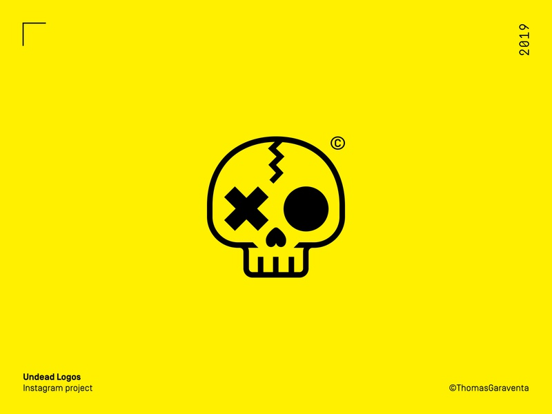 Undead logos logomark bold skull logo design design minimal flat vector branding symbol instagram icon mark logo