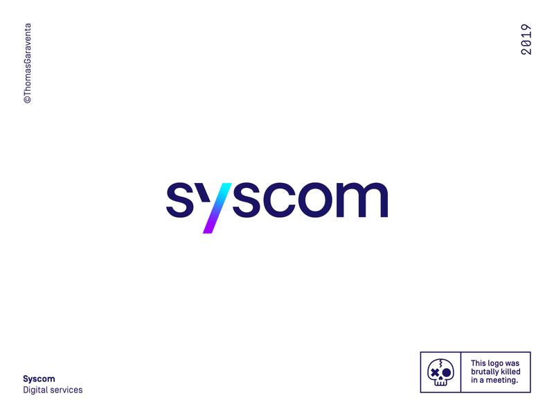 Syscom logo typography type gradient graphic design ux ui logo design logotype minimal flat logo branding