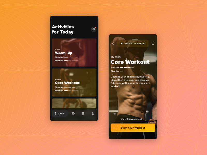 Personal Fitness Coach work sans activities sports workout tracker personal workout trx personal trainer wod fitness app ux crossfit workout fitness ui figma design