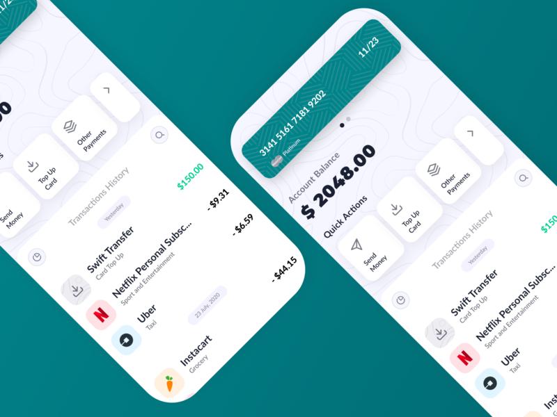 Banking Account top up income balance bank app patterns design figma ui creditcard banking app transaction history transaction