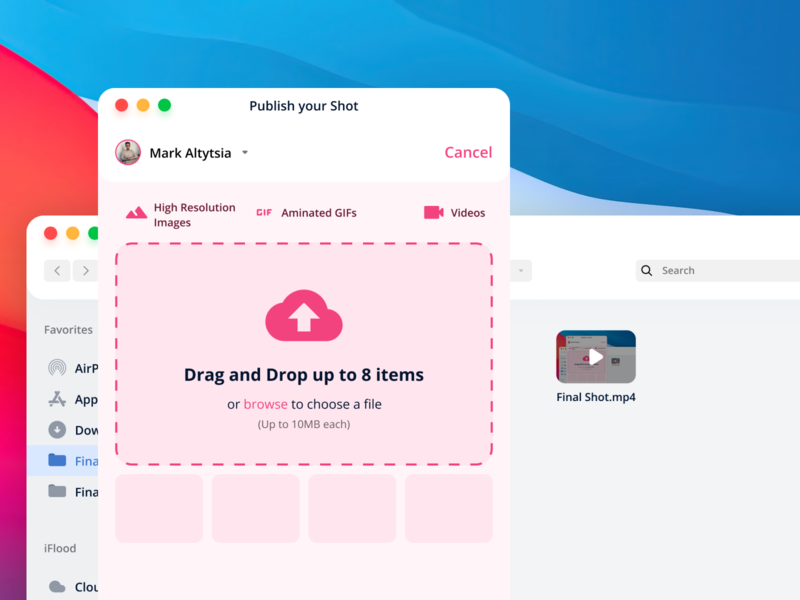 Dribbble Crossplatform Application concept big sur ui file manager finder drag and drop crossplatform big sur ios14 file upload dribbble figma design ui
