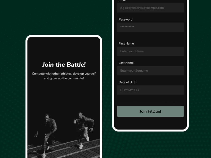 Create a new Account splashscreen product design pattern fitness app input fields new account create account signup login fitness design ui figma
