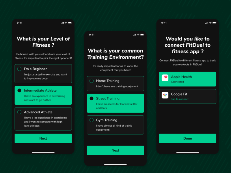 New User Onboarding select connection health selection new user onboarding user onboarding fitness app ux design ui figma