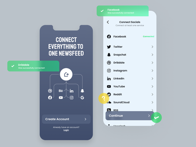 RSS Feed | Service Connection social networks connect login feed newsfeed rss design ui figma