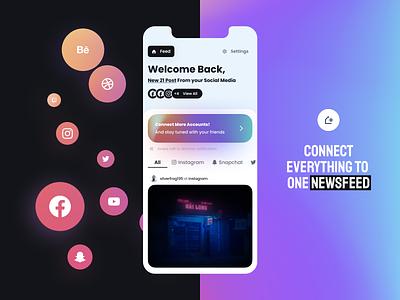 RSS Feed | Home Screen social media social network minimal ui home notofications posts feed home screen branding logo design ui figma