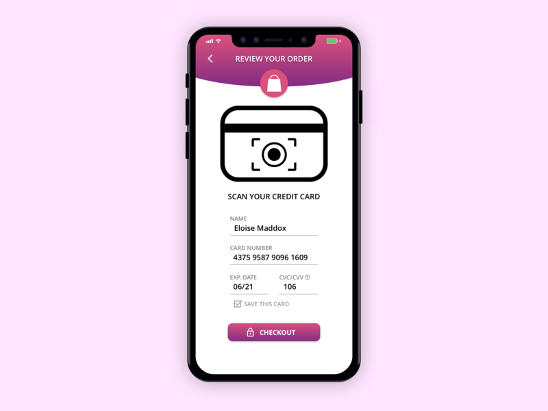 Iphone X Credit Card Checkout Page dailyui ux ui illustration design app