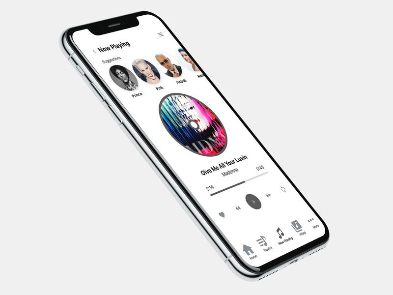 Iphone X Music Player Mock Up sketch minimal dailyui app ux ui illustration design
