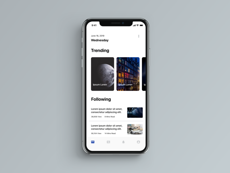 iPhone X News minimal sketch app illustration dailyui ux ui design