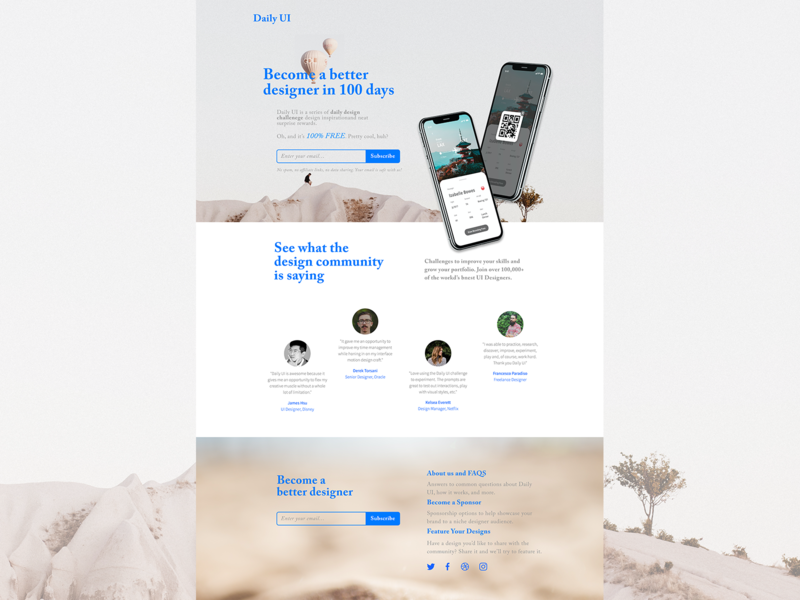 Desktop Daily UI Landing Page photoshop website web minimal sketch illustration dailyui ux ui design