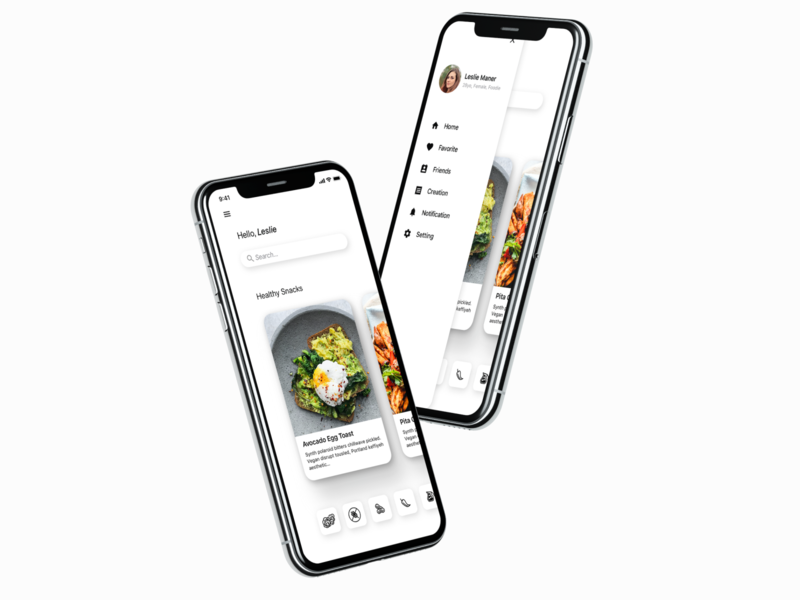 Food App Side Menu UI interface illustrator dashboard minimal app sketch illustration ux ui design