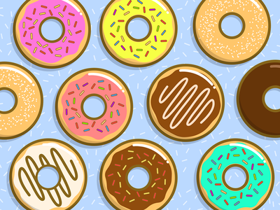 Donuts Donuts Donuts! dunkin treat doughnuts dessert food delicious pattern illustration colorful sweet donuts