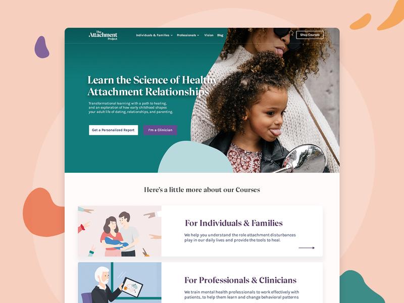 Attachment Project - Style Exploration web design website visual ux uiux ui illustration attachment mental health health learn slider homepage header web colors brand design branding brand