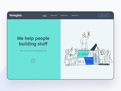 Boringbits - Brand Splash 💡 shape animation brand organic logo splashpage splashscreen intro screen operations devops hr finances project ilustration illustrator organic ui motion maison experience