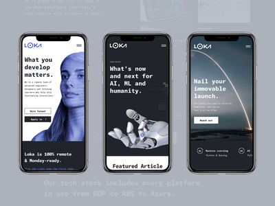 Loka.com - Mobile humanity ml ai remote tech develop silicon valley startup grid clean modern ux ui launch splash clean design