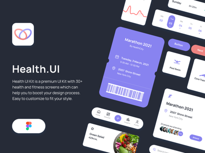 Health UI Kit - Download Available ux mockup free freebie ui kit uikit hearth track sleep body sports nutrition fitness health ui